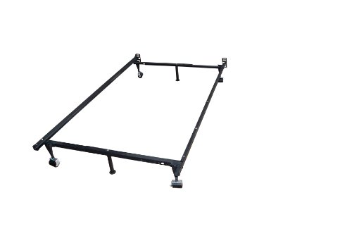 Kings Brand Furniture Heavy Duty Adjustable Metal Queen, Full, Full XL, Twin, Twin XL, Bed Frame With Rug Rollers & Locking Wheels