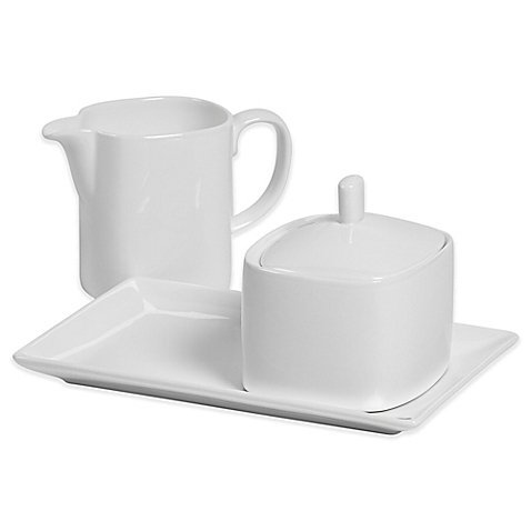 Tabletops Unlimited Bone China Sugar and Creamer Set in White Creamer Set