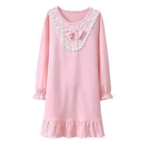 (Toddler Girls' Princess Nightgowns Lace Sleep Shirts Ruffle Nightie Pink)