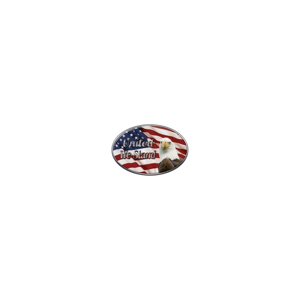 Oval United We Stand Decal with American Flag and Bald Eagle   2 h x 3 w   REFLECTIVE