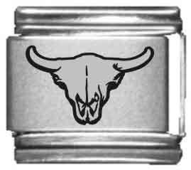 (Bull Skull Laser Italian Charm)