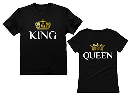 King & Queen Matching Couple Set Valentine's Day Gift His & Hers T-Shirt Men XX-Large / Women X-Large (For Her Day Present Valentines)