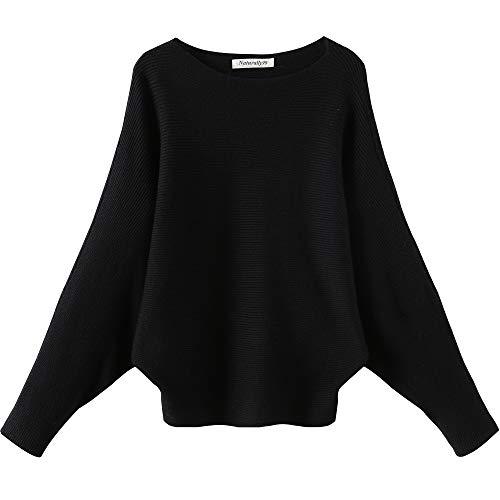 Naturally99 Women's Light Weight Long Dolman Sleeve Batwing Premium Wool Sweater Knit Top (Black)