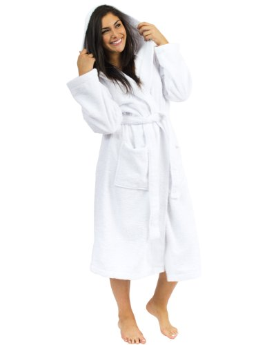 TowelSelections Women's Robe, Plush Fleece Hooded Spa Bathrobe X-Small/Small White