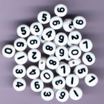 Plastic Number Beads White Round 7mm, Mixed Numbers 0-9, about 500 beads total - Number 2 Bead
