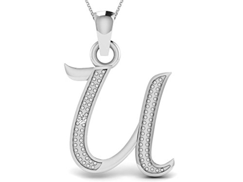 Or Blanc 18 ct Pendentifs Diamant en forme de U alphabet, 0.01 Ct Diamant, GH-SI, 0.61 grammes.