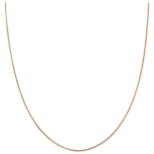 14k Rose Gold over Italian 925 Sterling Silver 1mm Snake Chain Vermeil Necklace