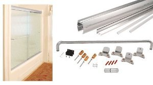 CRL Brite Anodized 72'' x 80'' Cottage CK Series Sliding Shower Door Kit With Clear Jambs for 3/8'' Glass - CK387280BA