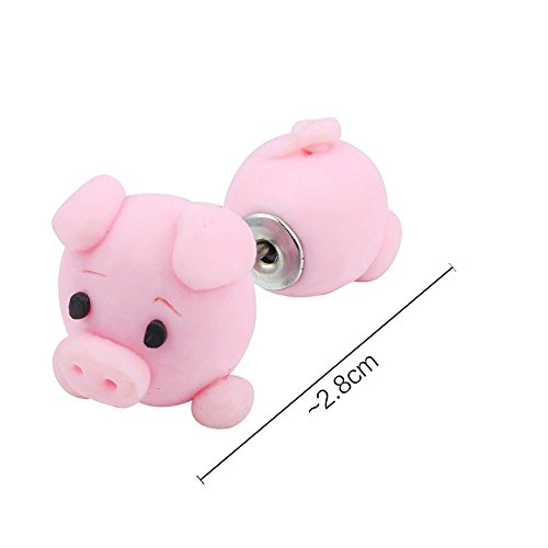 3D Handmade Cute Pig Stud Earring Polymer Clay Cartoon Animal Earrings Women ()