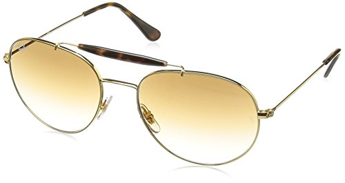 Ray-Ban Mens Double Bridge Aviators, Gold/Brown, One Size
