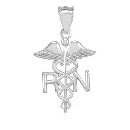 American Heroes Polished 14k White Gold Caduceus RN Charm Registered Nurse Pendant