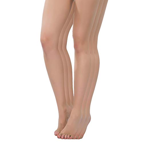 Womens Open Toe Pantyhose 3 pack Ultra Soft Stirrup Sheer Stockings T crotch Tights ()