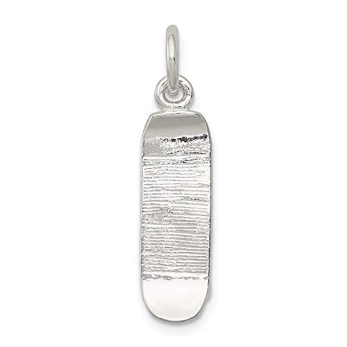 Jewel Tie 925 Sterling Silver Skateboard Pendant Charm (7mm x 23mm)