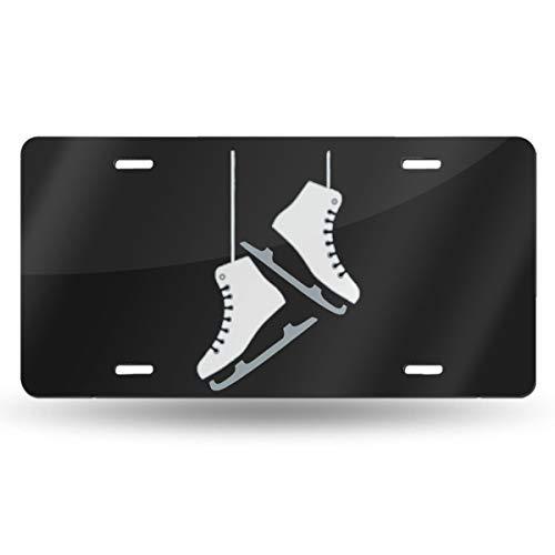 KBIKO-zxl 6x12 Inch Ice Skating Skates Aluminum Metal License Plate Car Tag with 4 Holes Car Tag