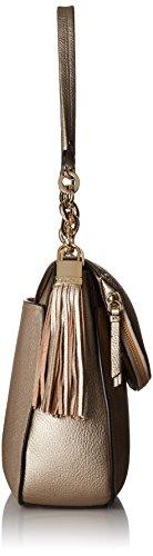 Bag Klein Taupe Pebble Calvin Hobo Lynn Shoulder Flap Metallic YA881n