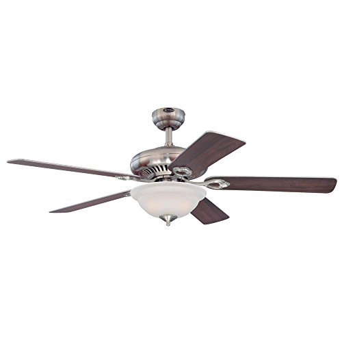 Frosted Bowl Fan Light - Westinghouse 7840000 Fairview Two-Light 52-Inch Reversible Five-Blade Indoor Ceiling Fan, Brushed Nickel with Frosted Glass Bowl