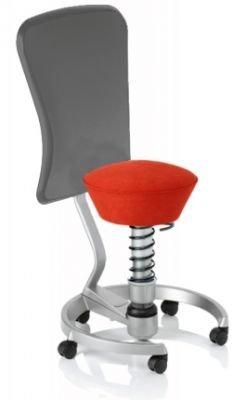 Aeris Swopper Classic - Bezug: Microfaser / Ferraro-Rot | Polsterung: Tempur | Fußring: Titan | Spezial-Rollen für Teppichböden | mit Lehne und grauem Microfaser-Lehnenbezug | Körpergewicht: SMALL
