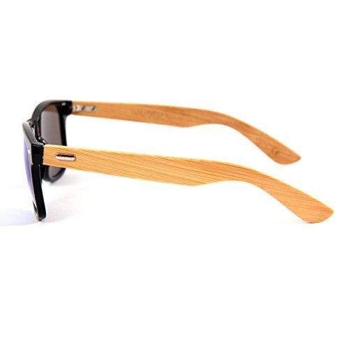 Charnière Style différentes Unisex Vintage De ressort Bambou lunettes Nerd Soleil choix Lunettes Bois Étamé au avec couleurs Rétro Bambou 9 haute qualité Bleu Modèles à Gomme 6wq8Uw