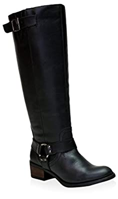 Amazon.com | Vestiture Women's Alamo Black Extra Wide Calf Leather ...