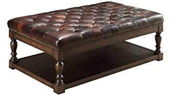 Alfred Traditional Brown Leather Tufted Coffee Table Ottoman With Wood  Storage Base