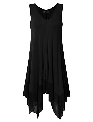 AMZ PLUS Womens Sleeveless Tank Tops Plus Size Pleated Asymmetrical Tunics Black XL