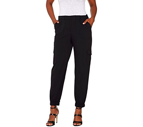Lisa Rinna Collection Pull On Banded Bottom Cargo Pants A265446  Black  3X