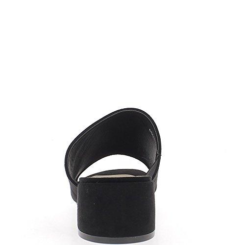 Mules femme noires aspect daim à talon épais de 5 cm