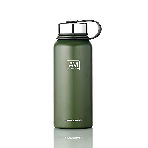Stainless Steel Water Bottle with Wide Mouth Lids (34oz) - Keeps Liquids Hot or Cold with Double Wall Vacuum Insulated Sweat Proof Sport Design (Green) 34 Oz Sports Bottle