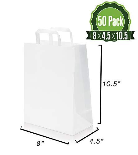White Kraft Paper Gift Bags Bulk with Flat Handles 50Pc [ Ideal for Shopping, Packaging, Retail, Party, Craft, Gifts, Wedding, Recycled, Business, Goody and Merchandise ()