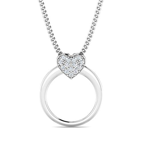 KuberBox 1/20 Carat Natural Diamonds (I-J Color, I1 Clarity) 10K Solid White Gold Heart-Ring Shaped Necklace Rhodium Plated with 18 Inch 925 Sterling Silver Curb Chain For Valentine's Day (Silver Pave Necklace Diamond)