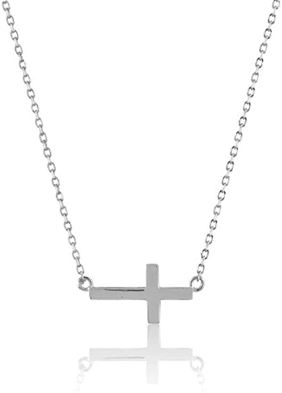 Sterling Silver CZ Sideways Cross 2 In Ext Necklace 16 Inches