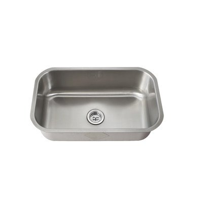 All-in-One Undermount Stainless Steel 28x16x9 in. 0-Hole Single Bowl Kitchen Sink by Schon