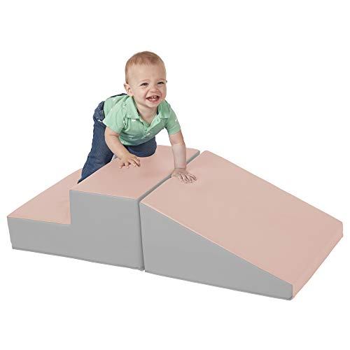 ECR4Kids SoftZone Step-n-Slide - Beginner Foam Play Structure for Toddlers, Pink/Gray ()