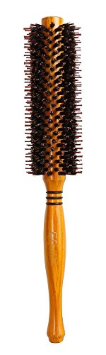 Round Rubber Brush (Meta-C Natural Boar Bristle Round Brush – Hair Rolling Brush With Natural Wood Handle For Hair Drying Styling Curling (M))