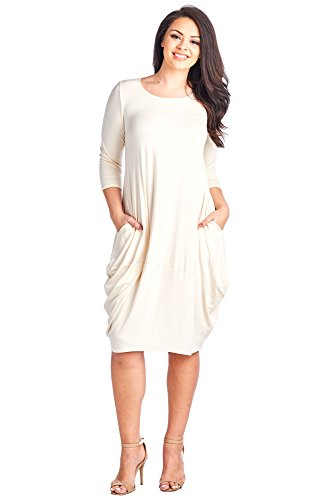 12 Ami Plus Size Solid 3/4 Sleeve Bubble Hem Pocket Midi Dress Cream XL (Cream Bubble)