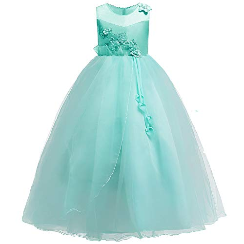 Kids Aqua Dress - HUANQIUE Girls Wedding Bridesmaid Dresses Flower Girl Pageant Maxi Gowns Aqua 5-6 Years