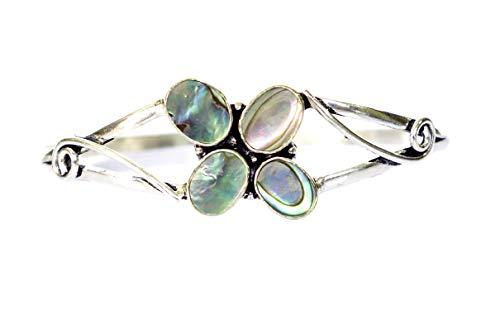 Handmade Abalone Shell Multi Gemstone Adjustable Fashion Bangle Bracelet for Women, Modern Authentic Colorful Cuff Bracelet 925 Silver Plated Unique Bracelet Jewelry by Artisan, Cushion Cut -