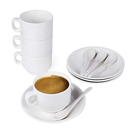 (12-Piece Espresso Cups with Saucers and Spoons, 6oz Demitasse Cups, Fine White Porcelain, Stackable Espresso Coffee Mug Sets- for Specialty Coffee Drinks, Latte, Cafe Mocha and Tea-Set of 4)