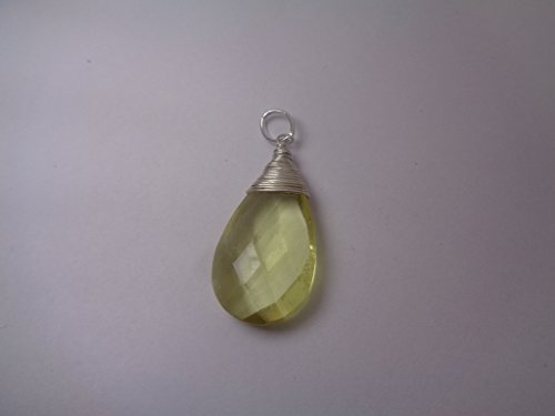 Wire Wrapped Lemon Quartz Charm Pendant, 15x25mm Teardrop Silver Filled - Lemon Quartz Drop