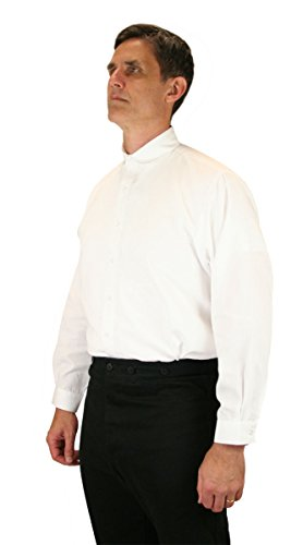 Historical Emporium Men's Virgil Round Club Collar Dress Shirt XL White