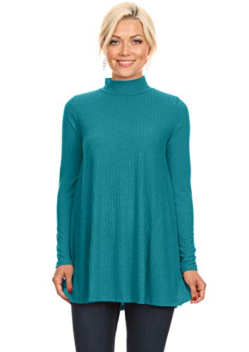 Jade Tunic Tops for Leggings for Women Mock Neck Ribbed Ladies Pullover Sweater (Size Large US 6-8, Jade) - Jade Ribbed Sweater