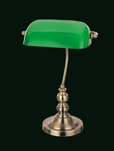 Bankers Table Lamp With Green Glass Shade Antique Brass: Amazon.co ...