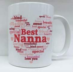 Best Nanna Heart Personalised White 11oz Mug & Pink Box - Birthday, Mother's Day by Cards Galore Online