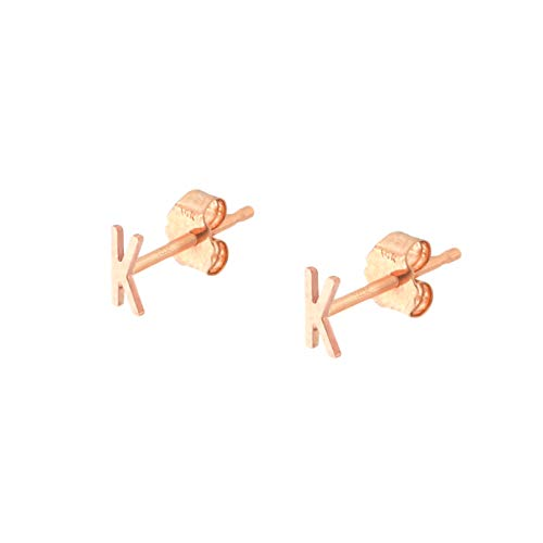 - Automic Gold Solid 14k Rose Gold Initial Stud Earrings, A