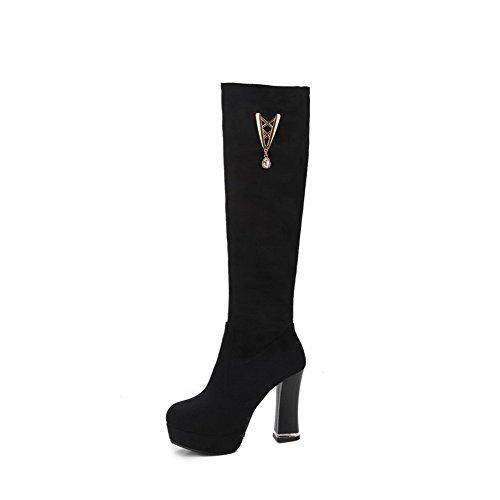 AllhqFashion Womens Solid Imitated Suede High-Heels Zipper Closed Round Toe Boots Black X7Rcknfi3h