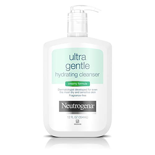Neutrogena Ultra Gentle Hydrating Daily Facial Cleanser for Sensitive Skin, Oil-Free, Soap-Free, Hypoallergenic & Non-Comedogenic Creamy Face Wash,12 fl. oz (Facial Cleansing Cream)