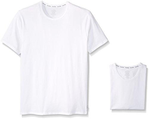 Calvin Klein Men's 2-Pack Modern Cotton Sretch Crew T-Shirt, White, Small