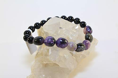 Elastic Cord Bracelet Charoite Nugget, Black Onyx Bead 8mm Beads/Stones-Free Shipping ()
