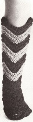Vintage Crochet PATTERN to make - Knee Boots Slippers Bed Socks Ripple Design. NOT a finished item. This is a pattern and/or instructions to make the item only.