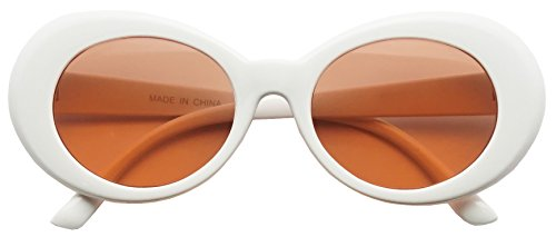 Colorful Oval Kurt Cobain Inspired Mod Round Pop Fashion Sunglasses (White, - Peach Glasses Colored